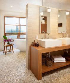 Bathroom - Grey Pebble Flooring, birch wood, white