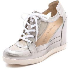 Luxury Rebel Shoes Carlton Metallic Wedge Sneakers ($130) ❤ liked on Polyvore