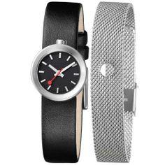 Mondaine A666.30324.14SBB Women's Aura Swiss Made Interchangeable Band Black Dial Watch Mondaine. $227.00