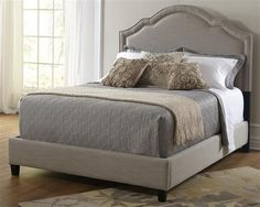 Modern Taupe Wood Shaped Nailhead Queen Upholstery Bed