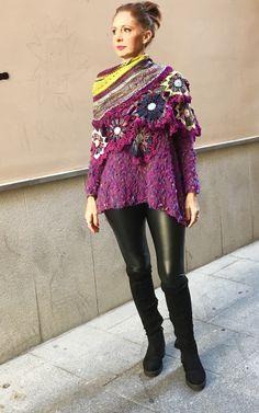 Chal punto y ganchillo Hippy, Crochet, Ideas, Shawl, Scarves, Beading, Ponchos, Crocheting, Ganchillo
