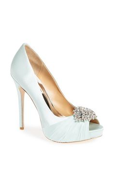 """""""Petal"""" in light blue by Badgley Mischka for bridal shoes"""
