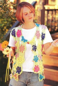 Crochet Crocheting Crocheted Pattern Lacy Floral FLOWER BOLERO Vest Clothes