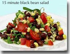 15-Minute Black Bean Salad Try this salad recipe that only gets better with time. It is a great one to keep on hand in your refrigerator for a ready-made healthy meal or snack.