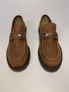 454e0a0fac5 Kenneth Cole Reaction Brown Suede Buckle Loafer Lug Sole Mens Size 10D
