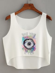 To find out about the Mouse & Eye Print High-Low Crop Tank Top at SHEIN, part of our latest Tank Tops & Camis ready to shop online today! Girls Fashion Clothes, Teen Fashion Outfits, Girl Fashion, Girl Outfits, Cropped Tops, Crop Top Outfits, Cute Casual Outfits, Hipster Crop Tops, Teen Fashion