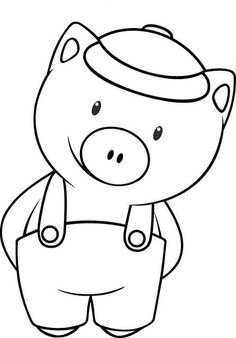 Riscos graciosos (Cute Drawings): Riscos de porquinhos (Pigs/ Piglets) a pig Pig Drawing, Drawing For Kids, Pig Crafts, Felt Crafts, Diy For Kids, Crafts For Kids, Coloring Books, Coloring Pages, Fairy Tale Activities
