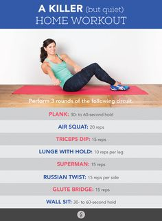 Quiet and Quick Home Workout #fitness #bodyweight #workout http://greatist.com/move/quiet-home-workout