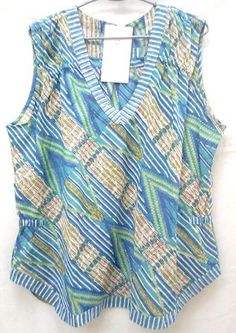 Boho chic Blue & Green Anokhi Hand block print Indian cotton Top Blouse Size…