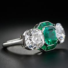 Emerald and Diamond Art Deco Ring - Lang Antique & Estate Jewelry