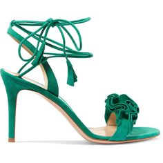 Gianvito Rossi Ruffled suede sandals (3,195 PEN) ❤ liked on Polyvore featuring shoes, sandals, green, party shoes, green suede shoes, suede shoes, long shoes and green shoes