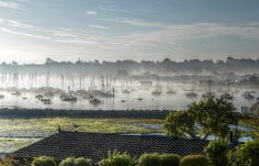 Morning Mist Over Bembridge Harbour from Old Mill Holiday Park