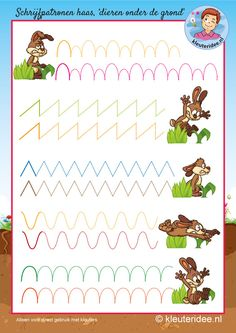 Schrijfpatroon haas voor kleuters,kleuteridee, kindergarten hare writing pattern, free printable. Easter Activities, Educational Activities, Learning Activities, Preschool Activities, Tracing Worksheets, Preschool Worksheets, Kids Art Class, Art For Kids, Teaching Kids