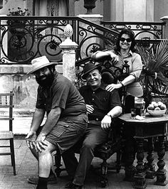 Francis Ford Coppola with his mother and father on the set of The Godfather Part II.
