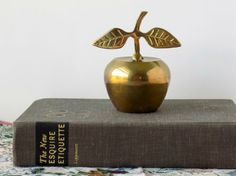 Vintage Brass Apple Bell. Teacher's Gift. by MissMagpiesShoppe