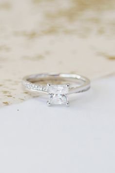 Who loves princess cut diamonds? 😍 Glamorous and elegant, the Lunar engagement ring is sure to get a 'yes'! Princess Cut Rings, Princess Cut Engagement Rings, Beautiful Engagement Rings, Vintage Engagement Rings, Diamond Engagement Rings, Diamond Rings, Beautiful Rings, Solitaire Diamond, Princess Wedding
