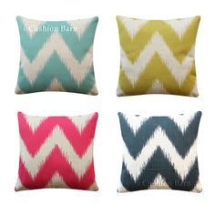 Geometric Chevron Cushion Cover Black Turquoise Pink Yellow Throw Pillow Cover Pink Turquoise, Pink Yellow, Yellow Throw Pillows, Geometric Cushions, Throw Pillow Covers, Chevron, Black, Decor, Yellow Cushions