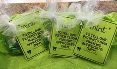 """Patient appreciation gifts. """"Mint"""" to tell our patients how much we appreciate them. We made these for our office. www.davidtoney.com"""