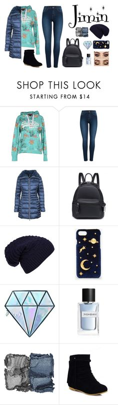 """""""New Year Jimin"""" by dark-lee on Polyvore featuring Superdry, Pieces, Save the Duck, WithChic, CHARLES & KEITH, Unicorn Lashes, Yves Saint Laurent and NARS Cosmetics"""