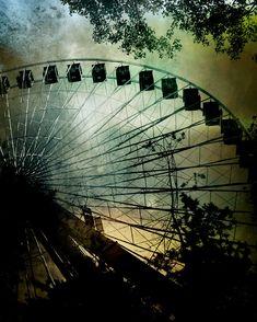 Large Wall Art Ferris Wheel Print Green