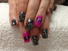 Black with glitter and bow stamp