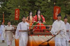Lady Sei Shōnagon (清少納言) and Lady Murasaki Shikibu (紫式部), during the annual Jidai Matsuri, in the Ancient Capital of Japan, 2016. Part of the Heian Period of this matsuri, featuring prominent ladies of this period in Japanese History. Both ladies are...
