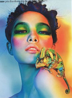 Amazing green and yellow dramatic eye makeup from Marie Claire Hong Kong April 2012.
