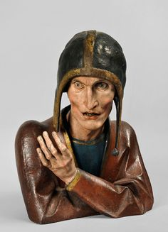 """Buste d'homme accoudé"" (leaning on his elbows) by Nicolas de Haguenau, 1480-1510."