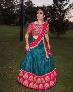 buy silk sarees online, indian wedding dresses for bride Simple Lehenga Choli, Half Saree Lehenga, Saree Dress, Anarkali, Lehenga Blouse, Half Saree Designs, Lehenga Designs, Saree Blouse Designs, Pakistani Outfits