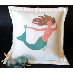 This mermaid has been handpainted onto weatherproof acrylic indoor-outdoor fabric with durable, nontoxic textile paints. 20 x 20    51.99