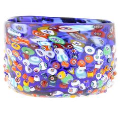 millefiori glass | Murano Glass Vases | Murano Glass Millefiori Mosaic Bowl - Blue