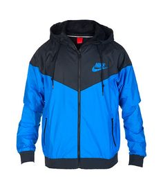 e12c5885f9 NIKE Windbreaker jacket Long sleeves Adjustable drawstring on hood Full zip  closure NIKE and swoosh logo