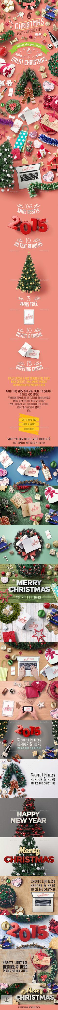 Christmas Assets And Mock Ups | Download: http://graphicriver.net/item/christmas-assets-and-mock-ups/9591143?ref=ksioks