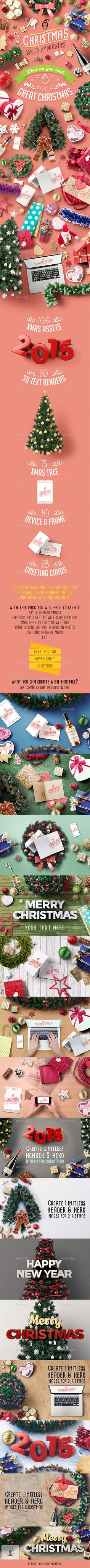 Christmas Assets And Mock Ups — Photoshop PSD #gift #mockup • Available here → https://graphicriver.net/item/christmas-assets-and-mock-ups/9591143?ref=pxcr