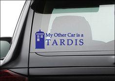 "My Other Car is a Tardis Vinyl Decal Sticker 10"" x 4"". $6.00, via Etsy."