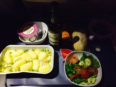 {Dinner Feb 17} BA flight chicken meal, loaded with creamy gnocchi and a thick sauce. Side of caprese salad, very oily and passion fruit dessert. Feeling stuffed