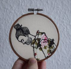 free machine embroidery,hoop art,portrait,embroidery,wall art,home decor,machine embroidery,hipster gift,unique gifts,art,floral,minimalist