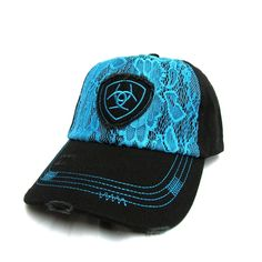 Ariat Ladies Black and Turquoise Lace Ball Cap 1514863
