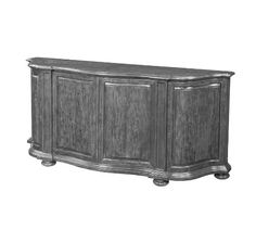 Antiqued wood double serpentine sideboard, Parquetry Top, Four shaped recessed panelled cabinet doors, Moulded base raised on bun feet