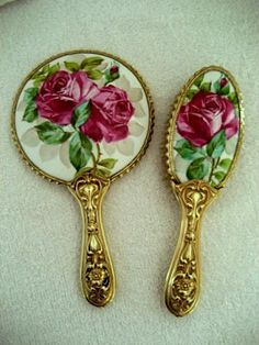 Antique Art Nouveau vanity hand mirror brush set painted lavender roses  100 years old