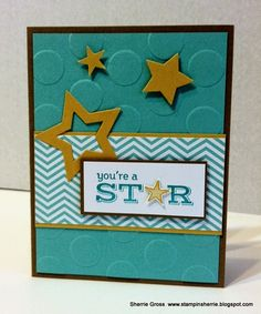 Pictogram Punches Stamp Set; Stars Framelits Die; Polka Dot Embossing Folder; 2013-2015 In Color Backgrounds DSP; Coastal Cabana CS; Hello Honey CS; Whisper White CS; Itty Bitty Accents Punch Pack; Something To Say Stamp Set