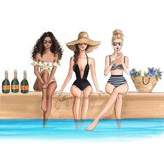 New print Holly Nichols Illustration Best Friend Drawings, Bff Drawings, Arte Fashion, Girl Fashion, Trendy Fashion, Fashion Sketches, Art Sketches, Copic Art, Art And Illustration