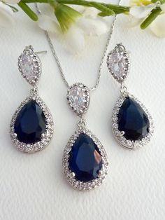 Wedding Bridal Jewelry SET  Halo Sapphier Blue by JCBridalJewelry, $87.30