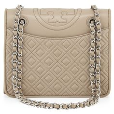 Tory Burch Fleming Quilted Medium Flap Shoulder Bag ($495) ❤ liked on Polyvore featuring bags, handbags, shoulder bags, french grey, chain shoulder bag, quilted shoulder bag, grey leather purse, quilted handbags and quilted chain strap shoulder bag