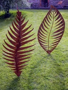 Mild steel Garden Or Yard / outside and Outdoor sculpture by artist Peter M Clarke titled: 'Leaf Form II (Big Contemporary Metal Leaf garden...