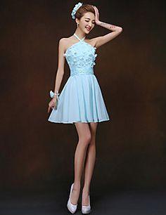 Sheath/Column High Neck Short/Mini Chiffon And Lace Bridesmaid Dress Blue