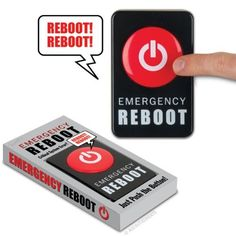 """Accoutrements Emergency Reboot Button by Accoutrements. $10.40. Requires two AAA batteries. Can hang on a wall or sit on a desk. Perfect for IT professionals. From the Manufacturer                Blue screen of death. Robot malfunction. You need an Emergency Reboot Button. Just press the button and you will hear the sound of an alarm siren and a robot voice saying """"reboot, reboot."""" Perfect for IT professionals and anyone whose life is a little bit buggy. Each 4-1/4"""" x 2-3/..."""