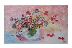 Original art Oil Painting Colorful painting por oilpaintingsIren
