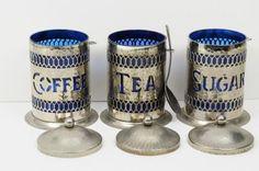 vintage alluinum cansiters | Vintage Hammered Aluminum Canister Set Coffee Tea Sugar Spoons England ...