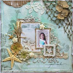 Cherish **Kit Page & VIDEO TUTORIAL** The Scrapbook Diaries - Prima - Seashore Collection Gabrielle Polacco